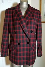 VINTAGE GIORGIO SANT ANGELO WOMENS RED BLACK WOOL BLAZER 6 DOUBLE BREASTED