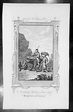 1778 Moores Antique Print Japanese Peasants & Farmers riding Oxen with Produce