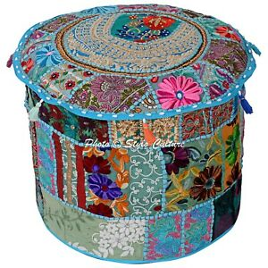 """Indian Round Ottoman Sofa Patchwork Embroidered Pouf Cover Cotton 18"""" Turquoise"""