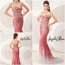 AUTHENTIC ANGELA & ALISON RED OMBRE' GOWN FORMAL PROM PAGEANT DRESS #41016 NWT 4