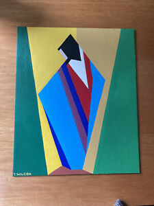 Cubist Abstract Figure Oil Painting - Signed