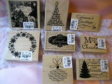 Huge lot of Christmas Rubber Stamps by Hampton Art Tree FREE SHIP Santa graphics