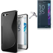 Pour Sony Xperia X Compact Coque en Gel Silicone S-line Noir + 1 verre trempé