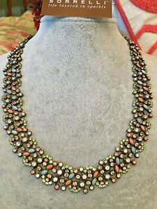 "Sorrelli Fixation Collection Necklace Aqua, peach, lilac, green 16"" adj RARE"