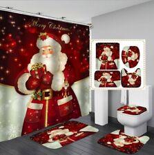 3D Christmas Shower Curtain Floor Mat Toilet Lid Cover Bathroom Rugs Mat Set 1#