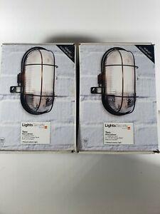 IQ Group PIR Motion Detector Plus 2 X Taro Black Bulkhead Security Lights bundle