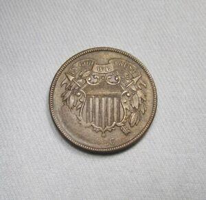 1866 Error 2 Cents Struck Through Grease Obv. & Rev. Coin AI327