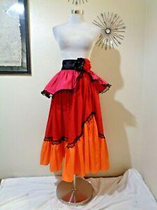 VINTAGE HANDMADE MEXICAN/SPANISH RED/ORANGE TIERED FULL SKIRT FESTIVAL SKIRT XS