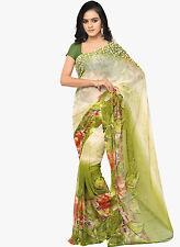 Green Chiffon Floral Print Bollywood Saree Party Wear Designer Sari