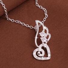 Wholesale 925 Sterling Silver Filled Hollow Love Heart Wing Zircon Crystal Penda