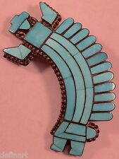 Vintage Fadrian Bowannie Zuni Kachina Turquoise Sterling Silver Pin Pendant