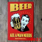 Metal Tin Sign beer all a man needs Decor Bar Pub Home Vintage Retro Poster