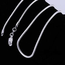 """2MM SOLID   STERLING SILVER SNAKE CHAIN NECKLACE  16 18 20 22 24 26 """" INCH UK"""