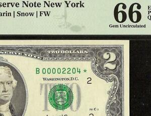 2003 $2 TWO DOLLAR BILL LOW PRINT 2204 STAR NOTE ONLY 16K ISSUED PMG 66 EPQ