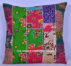 "16"" DECORATIVE KANTHA PILLOW CUSHION COVER THROW Indian Floral Embroidered Toss"