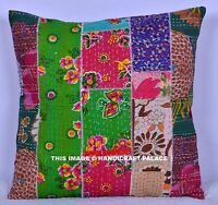 """16"""" DECORATIVE KANTHA CUSHION COVER THROW INDIAN FLORAL PATCHWORK PILLOW DECOR"""