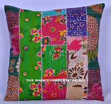 """16"""" DECORATIVE KANTHA PILLOW CUSHION COVER THROW Indian Floral Embroidered Toss"""