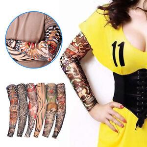 6 Pack Temporary Fake Tattoo Sleeves Mens Women Full Arm Skin Stockings Nylon