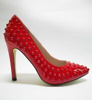 Ana Lublin Spiked Platform Heels Patent Leather Shoes Rosso Red Size 38 39 40 41