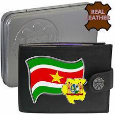 SURINAME Klassek Mens Leather Wallet SURINAMESE Flag map Emblem gift Metal Box
