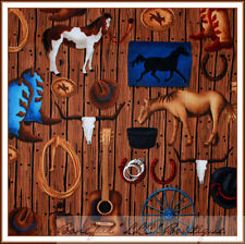 BonEful Fabric FQ Cotton Quilt West Horse Barn Wood Shoes Rodeo Girl Scout Farm