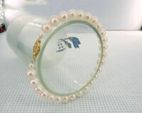 AAAA 7-8mm South Sea White Pearl Bracelet 7.5-8' 14k Clasp