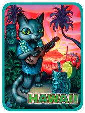 Car Window Bumper Sticker - Hawaiian Art Decal - Tiki Cat by Brad Parker