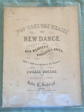 Extremely Rare Early American 1853 Sheet Music Pop Goes The Weasel in Six Pages
