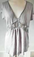 Topshop Bump Maternity Women's Top Grey Silver Size 12 Sequins Embellished VGC