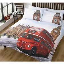 LONDON SINGLE DUVET COVER RED BUS BIG BEN BEDDING