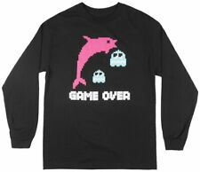 Pink Dolphin Game Over Long Sleeve T-Shirt Streetwear Tee Top Fashion Mens Black