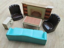 VINTAGE PLASCO TOY DOLL HOUSE (6) PIECE LIVING ROOM FURNITURE IN GOOD CONDITION