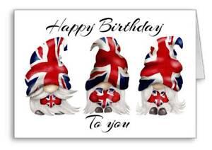 Happy Birthday Union Jack Card Gonk Gnome england