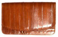 Lee Sands Medium Cognac Eelskin Flap Front Clutch Wallet with Wrist Strap