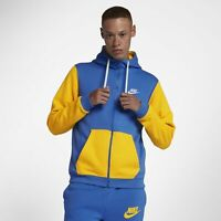 131a6099 Men's Nike Sportswear Archive Full-Zip Hoodie Blue Yellow Size LARGE AV3624  403