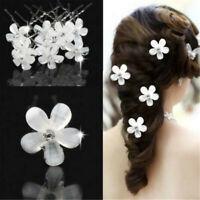 5PC Wedding Bridal White Pearl Flower Hair Pins Rhinestone Crystal Clips White