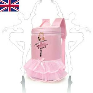 Kids Girls Ballet Latin Dance Bag Embroidered Tiered Ruffled Backpack Pink
