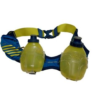 Nathan Trail Mix Hydration Belt Green/Blue 2 Water Bottles Adjustable Belt