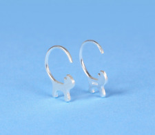 AU 925 Sterling Silver White Gold Cute Little Kitty Cat Tail Hook Earrings