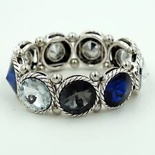 New Antique Silver tone Multi-Color Crystal Bangle Cuff Stretch Bracelet 06764
