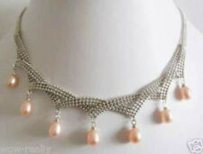 """7-8x9-10mm pink natural freshwater pearl white gold plated necklace 18"""""""