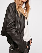 Free People Victory Leather Moto Jacket Black Smal (MSRP $398) New W/Tag