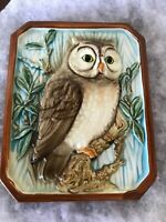 Vintage Ceramic Owl Wall Plaque Made In Japan