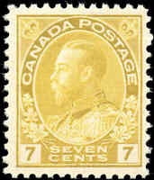 Mint NH Canada 7c 1916 F+ Scott #113 King George V Admiral Issue Stamp