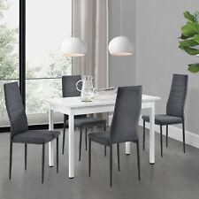 [en.casa] Esstisch weiß mit 4 Stühlen grau Küchentisch Esszimmertisch 120x60cm