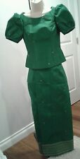Khmer Traditional Phamoung Two Pieces Green Size Small for Wedding or Party's