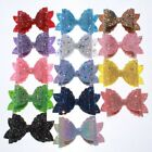 10PCS 8CM Newborn Glitter Leather Hair Bow With Fully Covered NO CLIPS