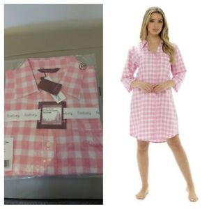 Women Woven Check Boyfriend Shirt Nightie Night Shirt Night Dress Nightwear