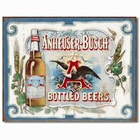 Anheuser Busch Bud Bottled Beers Budweiser Bar Retro Made USA 16x12 Metal Sign