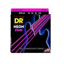 DR Strings NPB-40 Nickel Coated Hi-Def Pink Bass Guitar Strings, Medium, 40-100